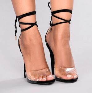 Beautiful black heels with clear toe strap